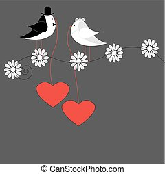 birds with hearts