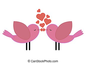 Birds with hearts kiss