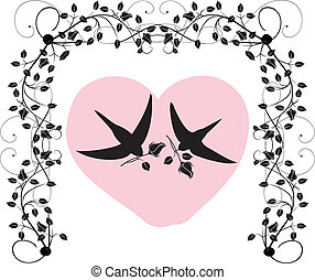 birds with roses and a heart