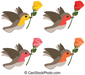 Birds with roses
