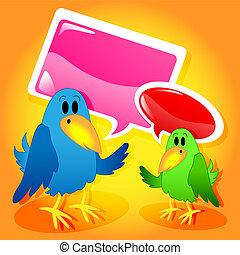 Birds with speech bubbles