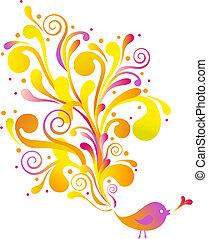 birds with swirls - cute bird with floral swirls, vector...
