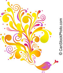 birds with swirls - cute bird with floral swirls, vector...