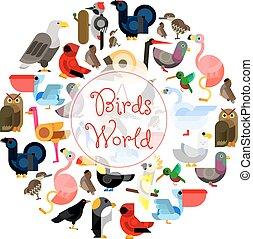 Birds world zoo emblem. Cartoon bird icons