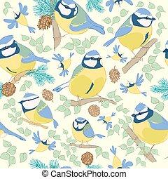 Birds.Blue tit pattern. Vector illustration