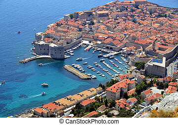 Birdseye onto Dubrovnik in Croatia
