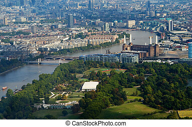Birdseye view of Battersea park, Thames and old coal power plant, London