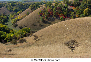 Birdseye view of colorful hills in autumn - Aerial image of...