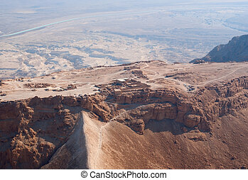 Masada fortress - Birdseye view of Masada fortress, Israel