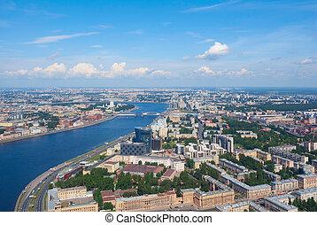 Birdseye view of Neva river and Nevsky district of Saint Petersburg, Russia