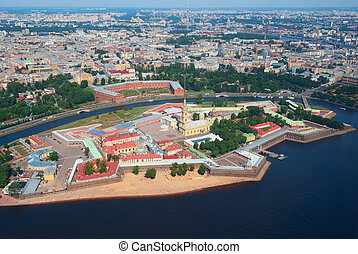 Birdseye view of Peter and Paul Fortress in Saint Petersburg, Russia