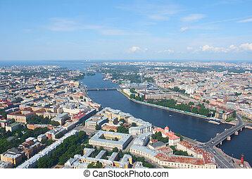 Birdseye view of Malaya Neva river mouth and Vasilyevsky island in Saint Petersburg, Russia