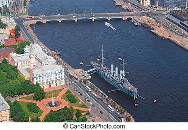 Birdseye view of the Aurora cruiser memorial in Saint Petersburg, Russia