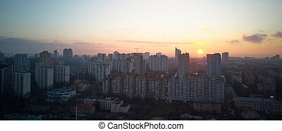 birdseye view of the city at sunrise - a birdseye view of ...