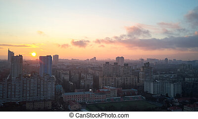 birdseye view of the city at sunrise - beautiful view from a...