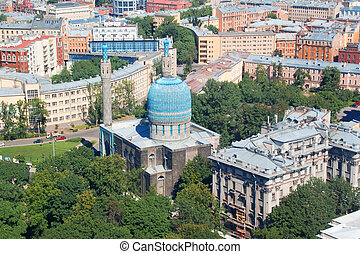 Birdseye view of the Saint Petersburg Mosque, Russia