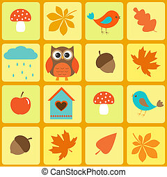 Birds,owl and autumnal leaves