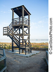 Birdwatch tower at a natural park wetlands