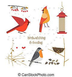 Birdwatching and feeding - Birdwatching, bird feeding icon ...
