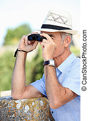 birdwatching, man