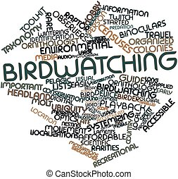 Birdwatching - Abstract word cloud for Birdwatching with...