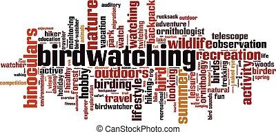 Birdwatching word cloud concept. Vector illustration