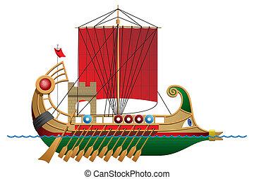 Bireme - illustration of a antique ship.