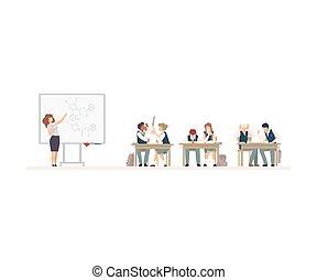 birichino, alunni, vettore, illustrazione, scrivania scolastica, seduta