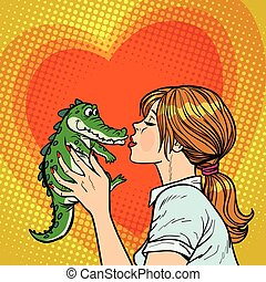 birichino, baci, coccodrillo, concetto, mamma, bambino