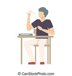 birichino, carta, lancio, vettore, ragazzo, illustrazione, aereo, scrivania scolastica, seduta