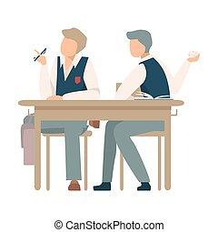birichino, carta, lancio, vettore, ragazzo, illustrazione, foglio, spiegazzato, scrivania scolastica, seduta