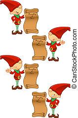 birichino, &, elenco, -, bello, rosso, elfo