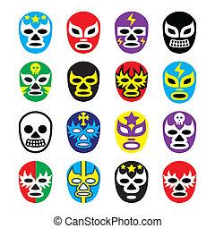 birkózás, mexikói, maszk, lucha, libre
