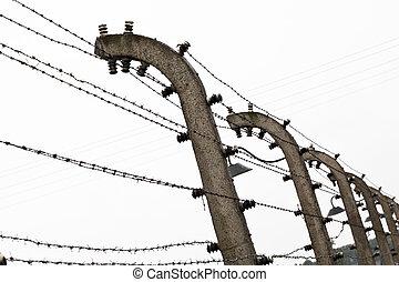 birkenau, 电, 栅栏, 细节