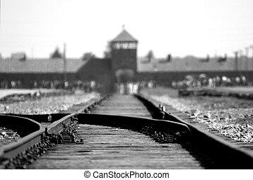 Birkenau Auschwitz - Rail track through entrance gate