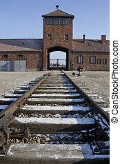 Birkenau Nazi Concentration Camp - Poland - Entrance to...
