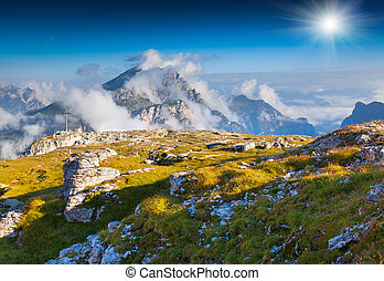 Birkenkofel mountain range at sunny summer day. Dolomites...