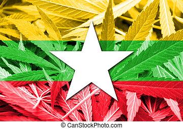 birma, fahne, auf, cannabis, hintergrund., droge, policy., legalization, von, marihuana