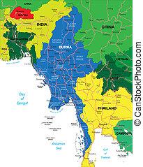 birma, landkarte