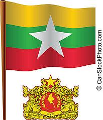 birma, vlag, golvend