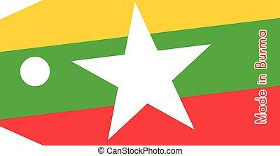 birmanie, fait, mot, coût, isolé, illustration, drapeau, étiquette, vecteur, fond, blanc