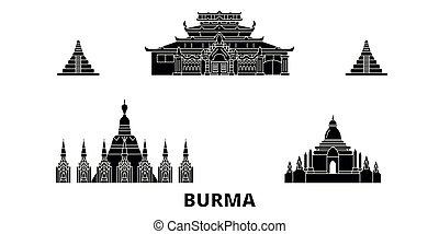birmanie, plat, illustration, voyage, landmarks., symbole, horizon, vecteur, noir, vues, ville, set.