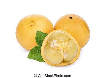 birmano, uva, fruta, con, hojas verdes, aislado, blanco, plano de fondo