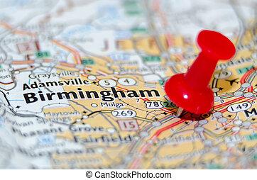 birmingham alabama city pin on the map