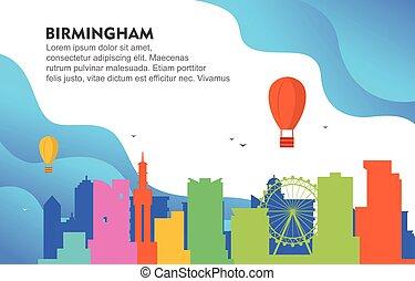 Birmingham City Building Cityscape Skyline Dynamic Background Illustration