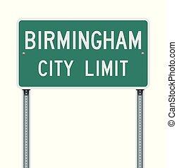 Birmingham City Limit road sign