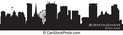 Birmingham, England skyline. Detailed vector silhouette