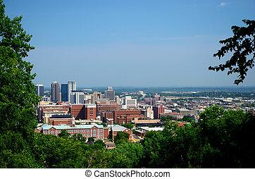 Birmingham skyline view from Vulcan Park overlook.