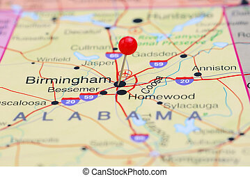 Birmingham pinned on a map of USA - Photo of pinned...