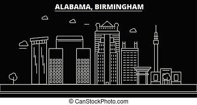 Birmingham silhouette skyline. USA - Birmingham vector city, american linear architecture, buildings. Birmingham travel illustration, outline landmarks. USA flat icon, american line banner